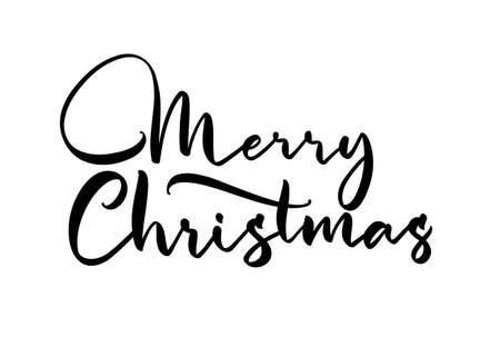 Vector Handwritten elegant lettering type of Merry Christmas on white background.