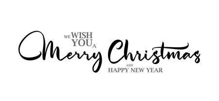 Vector Elegant lettering type composition of Wish You a Merry Christmas on white background.