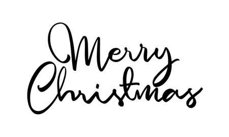 Vector Handwritten elegant lettering of Merry Christmas on white background.