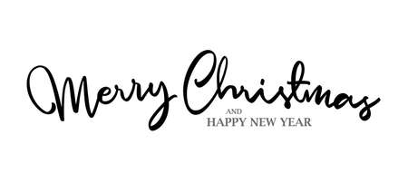Vector illustration: Elegant lettering type composition of Merry Christmas and Happy New Year on white background.