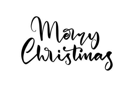 Vector illustration: Handwritten lettering type of Merry Christmas on white background. Ilustração