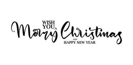 Vector illustration: Elegant lettering type composition of Wish You a Merry Christmas on white background.