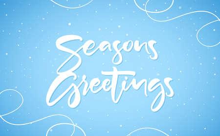 Hand drawn modern brush typy lettering of Seasons Greetings on blue winter background. Ilustração