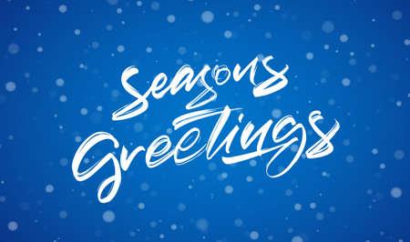 Handwritten modern brush typy lettering of Seasons Greetings on blue winter background.