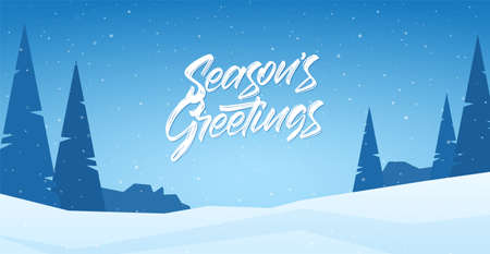 Winter snowy landscape with hand lettering of Seasons Greetings, pines and mountains. Ilustração