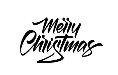 Handwritten calligraphic lettering type of Merry Christmas on white background. Ilustração