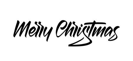 Handwritten calligraphic lettering type of Merry Christmas isolated on white background.