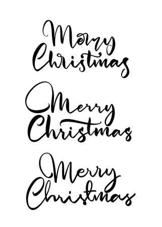 Set of three Handwritten calligraphic lettering of Merry Christmas.