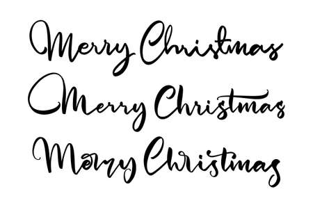 Set of three Handwritten calligraphic lettering of Merry Christmas on white background.