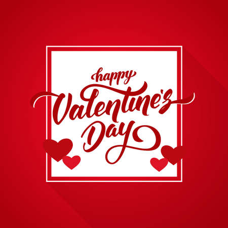 Vector illustration: Romantic greeting card with handwritten elegant lettering of Happy Valentine's Day.
