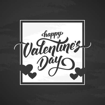 Vector illustration: Romantic greeting card with handwritten elegant lettering of Happy Valentine's Day on chalkboard background.