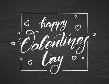 Vector illustration. Handwritten elegant modern brush lettering type of Happy Valentines Day with hand drawn hearts on chalkboard background.  イラスト・ベクター素材