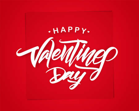Vector illustration: Romantic greeting card with handwritten type lettering of Happy Valentines Day on red background.