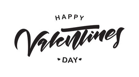 Vector illustration: Greeting lettering composition of Happy Valentine's Day on white background