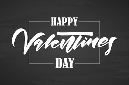 Vector illustration: Greeting card with lettering composition of Happy Valentine's Day on chalkboard background