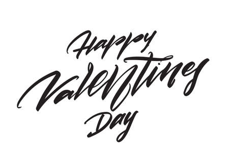 Vector illustration. Hand drawn modern brush calligraphic lettering of Happy Valentines Day isolated on white background.