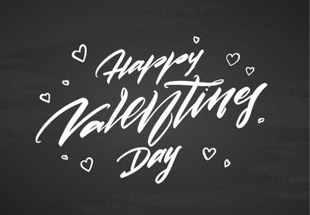 Vector illustration. Hand drawn modern brush calligraphic lettering of Happy Valentines Day on blackboard background.