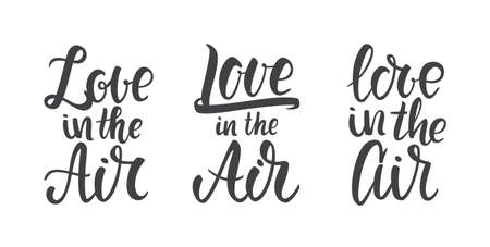 Vector illustration: Set of three Handwritten lettering compositions of Love in the Air.