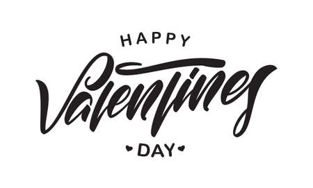 Vector illustration: Greeting calligraphy type lettering of Happy Valentines Day. Typography design