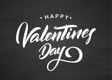 Vector illustration: Greeting type lettering of Happy Valentine's Day on chalkboard background