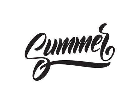 Vector illustration: Handwritten brush type lettering of Summer on white background.  イラスト・ベクター素材