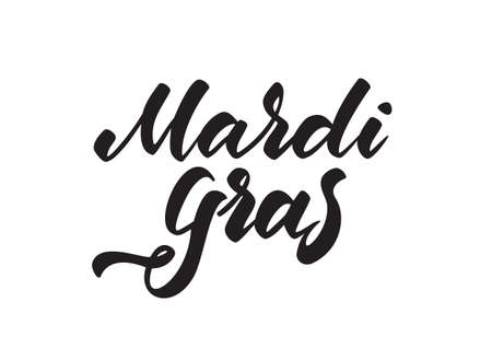 Vector illustration: Hand drawn modern brush type lettering of Mardi Gras isolated on white background  イラスト・ベクター素材