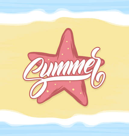 Vector illustration: Calligraphic lettering of Summer with starfish on beach sand background