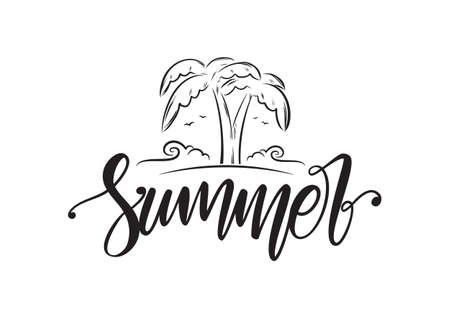 Vector illustration: Handwritten brush lettering of Summer with line palm trees, beach and ocean waves.  イラスト・ベクター素材
