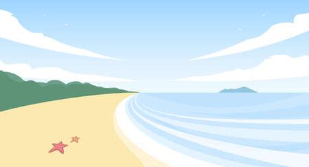 Vector summer landscape with beach, sea, and starfishes on sand.
