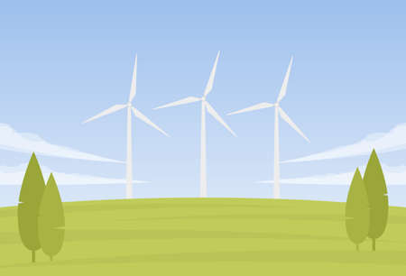 Vector illustration: Summer landscape with three Wind energy turbines