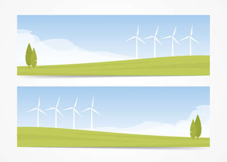 Vector illustration: Set of two banners with Summer landscape with Wind energy turbines
