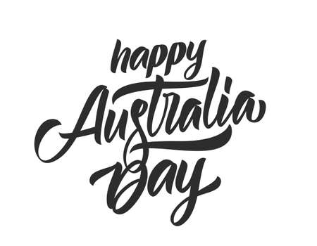 Handwritten calligraphy brush lettering of Happy Australia Day  イラスト・ベクター素材