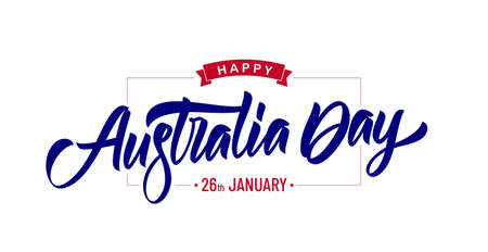Vector Handwritten calligraphy modern brush lettering of Happy Australia Day on white background