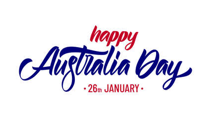 Handwritten calligraphy modern brush lettering of Happy Australia Day