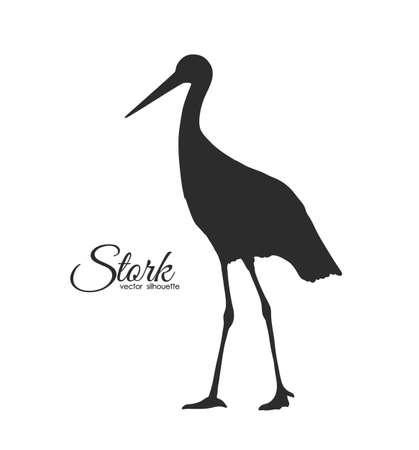 Vector illustration: Black Stork Silhouette isolated on white background.