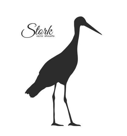 Vector illustration: Silhouette of Stork isolated on white background.