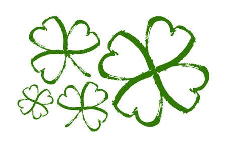 Vector illustration: Set of Hand drawn brush shamrocks on white background. Sketch line clover.