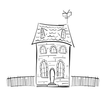 Vector illustration: Hand drawn doodle house on white background. Sketch line design. Иллюстрация