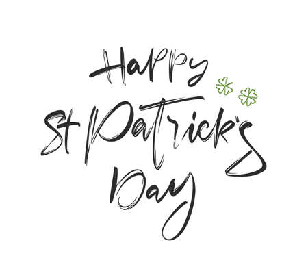 Vector illustration: Brush lettering composition of Happy St. Patrick's Day on white background.