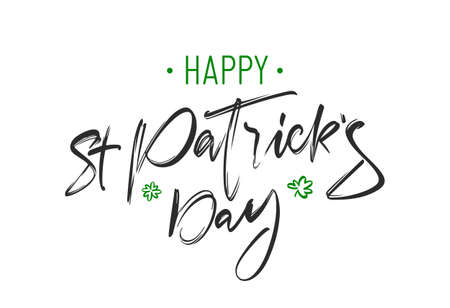 Vector Handwritten brush lettering composition of Happy St. Patrick's Day on white background.
