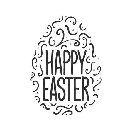Vector illustration: Greeting lettering of Happy Easter with decorative egg on white background.
