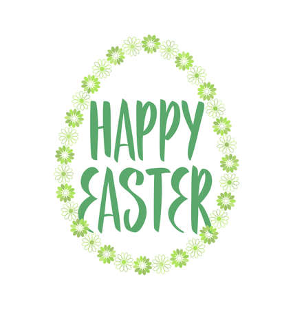 Vector illustration: Greeting lettering of Happy Easter with green decorative egg.