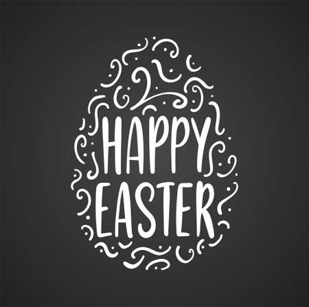 Vector illustration: Greeting lettering of Happy Easter with decorative egg on chalkboard background.