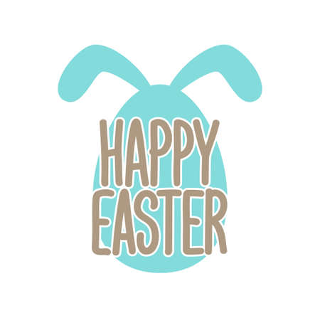 Vector illustration: Greeting lettering of Happy Easter with decorative egg and bunnies ears.