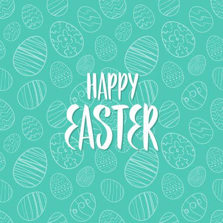 Vector illustration: Greeting lettering of Happy Easter on eggs pattern background. Иллюстрация