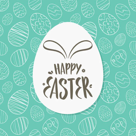Vector illustration: Greeting card with hand drawn eggs, lettering of Happy Easter with bunnies ears.