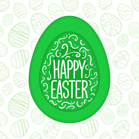 Vector Paper Cut Greeting card with hand drawn lettering of Happy Easter.