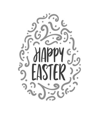 Vector illustration: Lettering of Happy Easter with decorative egg on white background.