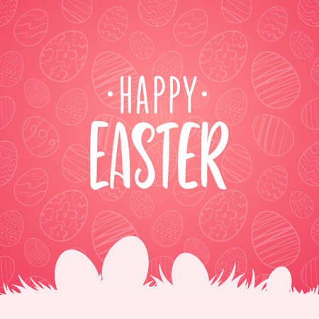 Vector illustration: Greeting card with hand drawn lettering of Happy Easter with silhouette of eggs on grass on pink background. Иллюстрация
