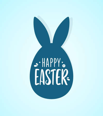 Vector illustration: Hand drawn lettering of Happy Easter with egg and bunnys ears.